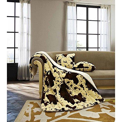 Regal Comfort Sherpa Luxury Throw Western Style Cow Print