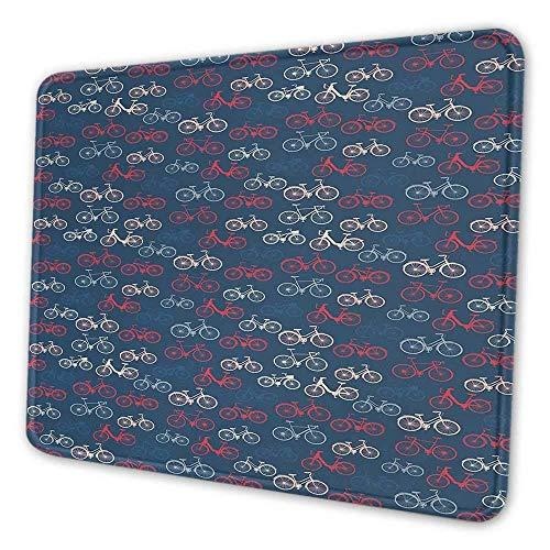 Fahrrad Künstlerische Mauspad City Race und Girls Bike Sketches in verschiedenen Farben Retro auf blauem Hintergrund Geeignet für Office Mouse Pad Multicolor