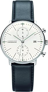 JUNGHANS - MAX Bill Chronoscope 027/4600.00 - Reloj cronógrafo automático para Hombre, Correa de Cuero Color Negro (cronómetro)