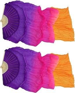 Yuccer 1.5m 1 Paire /Éventail de Danse Hand Made Eventail Voile Linge Soie /Éventail Danse Orientale pour Stage de Danse