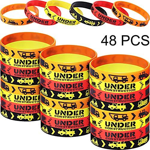 Construction Zone Party Favors Rubber Bracelets for Kids Construction Birthday Party and Construction Themed Supplies, Construction Themed Silicone Wristbands (48 Pieces)