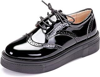 c0d468953a8d36 JRenok Femmme Mocassins Cuir Paillette Lacets Gothique Punk Creepers  Chaussure
