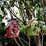 RTUTUR 2 unids Birdhouses Nest House House Caja de Madera para el Accesorio de decoración de jardín para el hogar 15.5x11.5x27.5cm Caja de Nido de Aves Creativo (Verde + Rojo)