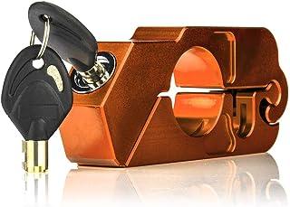 KKmoon Motorrad Schloss CNC Aluminium Universal Motorradschloss Lenker Bremsgriff Festes Schloss Sicherheitsschloss mit 2 Schlüsseln Orange