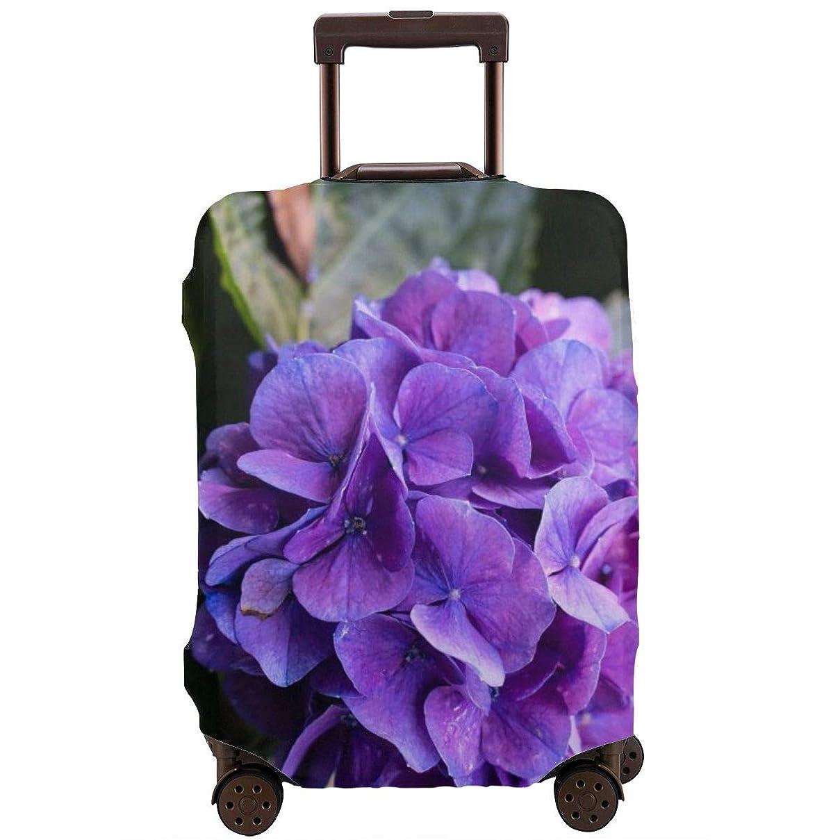 アリ好戦的な黒人スーツケースカバー ラゲッジカバー キャリーカバー あじさい 紫色 防塵カバー トランクカバー