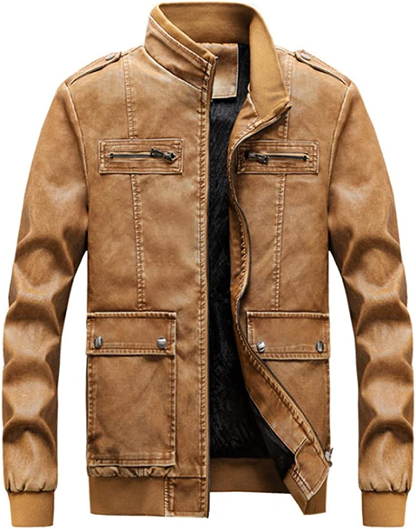 Men Motorcycle Leather Jacket Stand Collar Biker Jacket Vintage Pockets PU Leather Jacket Coat
