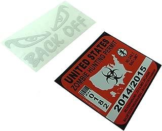 BERRYZILLA Back Off Decal Motorcycle Bike Helmet Funny Vinyl Sticker Reflective (Free Zombie Hunter Permit Decal)