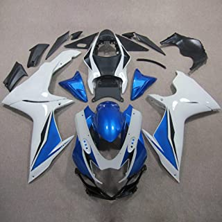 ZXMOTO Painted Fairing Kits for Suzuki GSXR 600 GSXR 750 2011 2012 2013 2014 2015 2016 2017 Aftermarket Motorcycle Fairings (Color:White & Blue)
