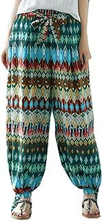 Sunmoot Plus Size Yoga Pants for Womens Summer Casual Loose Boho Print Baggy Elastic Waist Harem Ankle-Length Joggers