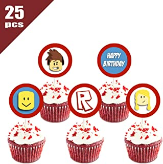 25 Count Birthday Cupcake Toppers for Roblox Cupcake Decorations - Party Decor Topper