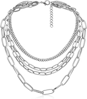 Simple Punk Chunky Necklaces for Women Silver Chain Goth Statement Layered Necklace for Eboy Egirl Men