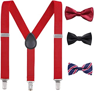 Laigoo Suspenders for Men with Bow Ties Set, Y-Shape with Strong Clips Adjustable Elastic Braces
