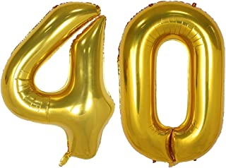 40inch Gold Number 40 Balloon Party Festival Decorations Birthday Anniversary Jumbo foil Helium Balloons Party Supplies use Them as Props for Photos (40inch Gold Number 40)
