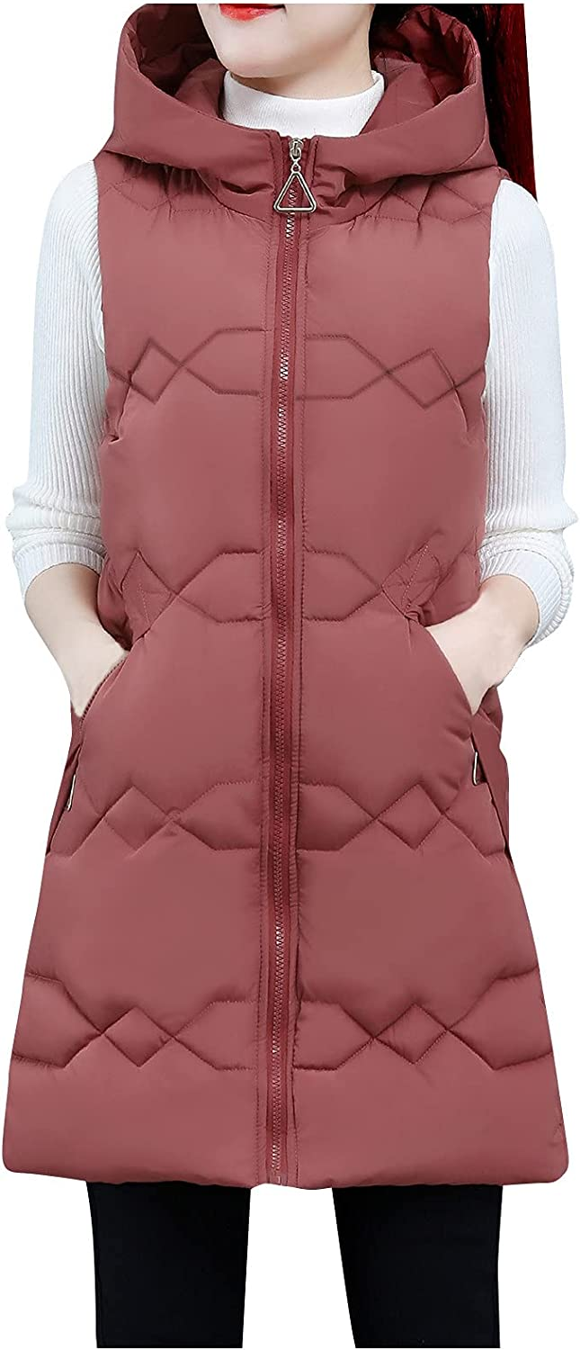 Womens Fashion Hooded Puffer Vest Coats Fixed price for sale Outwear Pocket War Solid New products world's highest quality popular