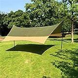 Feixunfan Toldo de Refugio Toldo al Aire Libre Playa Toldo Camino Viaje Camping Portátil Plegable Sol Paraguas Toldo al Aire Libre para Yard Beach (Color : Army Green- Khaki, Size : 4.2x4.2x2m)
