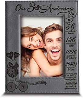 BELLA BUSTA- Our 3 Years Anniversary -2016-2019- Years,Months, Weeks, Days, Hours, Minutes, Seconds- Engraved Leather Picture Frame (5 x 7 Vertical)