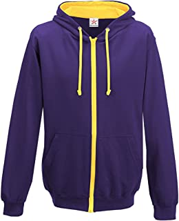 Hooded Contrast Zip Full Zip Hoody Hooded Top Hoodie Mens and Ladies Size S to XX-Large