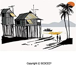 SCOCICI Washable,Non-Fading,Non-Stain,Wipe Clean,Dries Quickly Place mat Sketchy Fishing Village Malay in Singapore with Houses Canoe Palms Sun Prefect for Use in Holiday, Home Parties, Family Gather