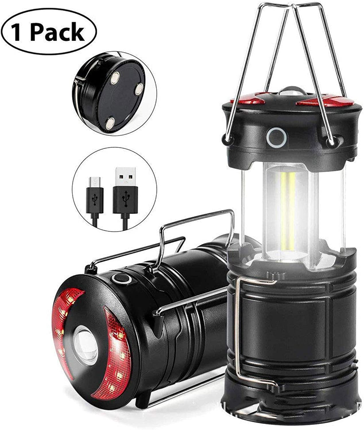 LED Portable Camping Lantern Collapsible Water Resistant Outdoor Light for Emergency, Hiking, Fishing, Power Cuts and More, Black