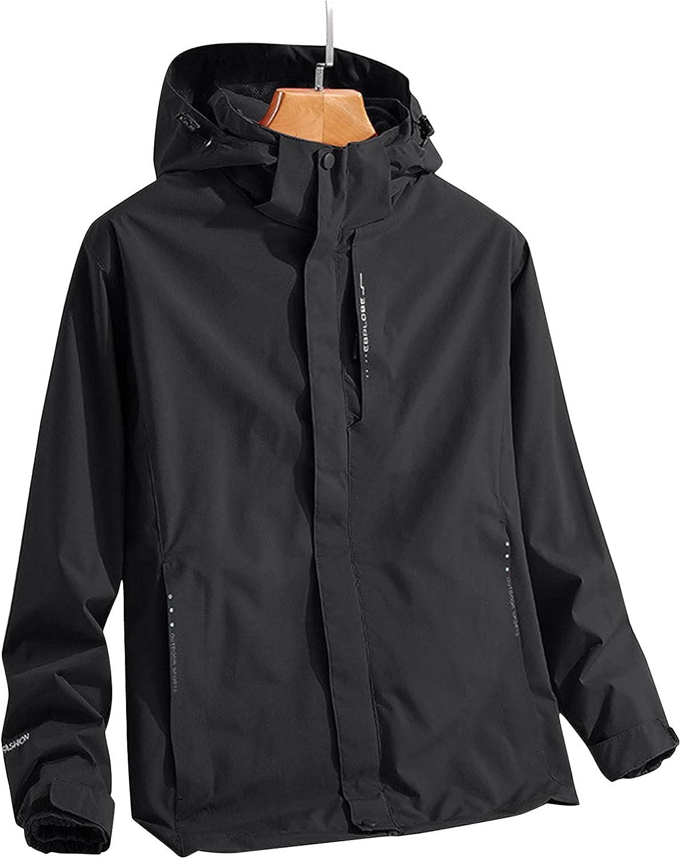 FORUU Windbreaker For Men 2021 Fall Winter Waterproof Ski Jackets Fshion Rain Jacket with Detachable Hood Outdoor Coat