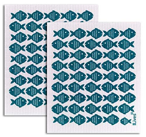 NineLives Spültuch Fische im 2er-Set | Tücher für Küche, Bad | Schwammtuch, Putzlappen