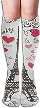 Eiffel Tower Paris Symbols Heart Letters Shapes Flag Sketchy Doodle Pure Athlete High Performance Ski Socks – Outdoor Skiing Socks, Snowboard Socks