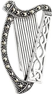 Solvar Irish Harp Brooch Sterling Silver & Marcasite Made in Ireland