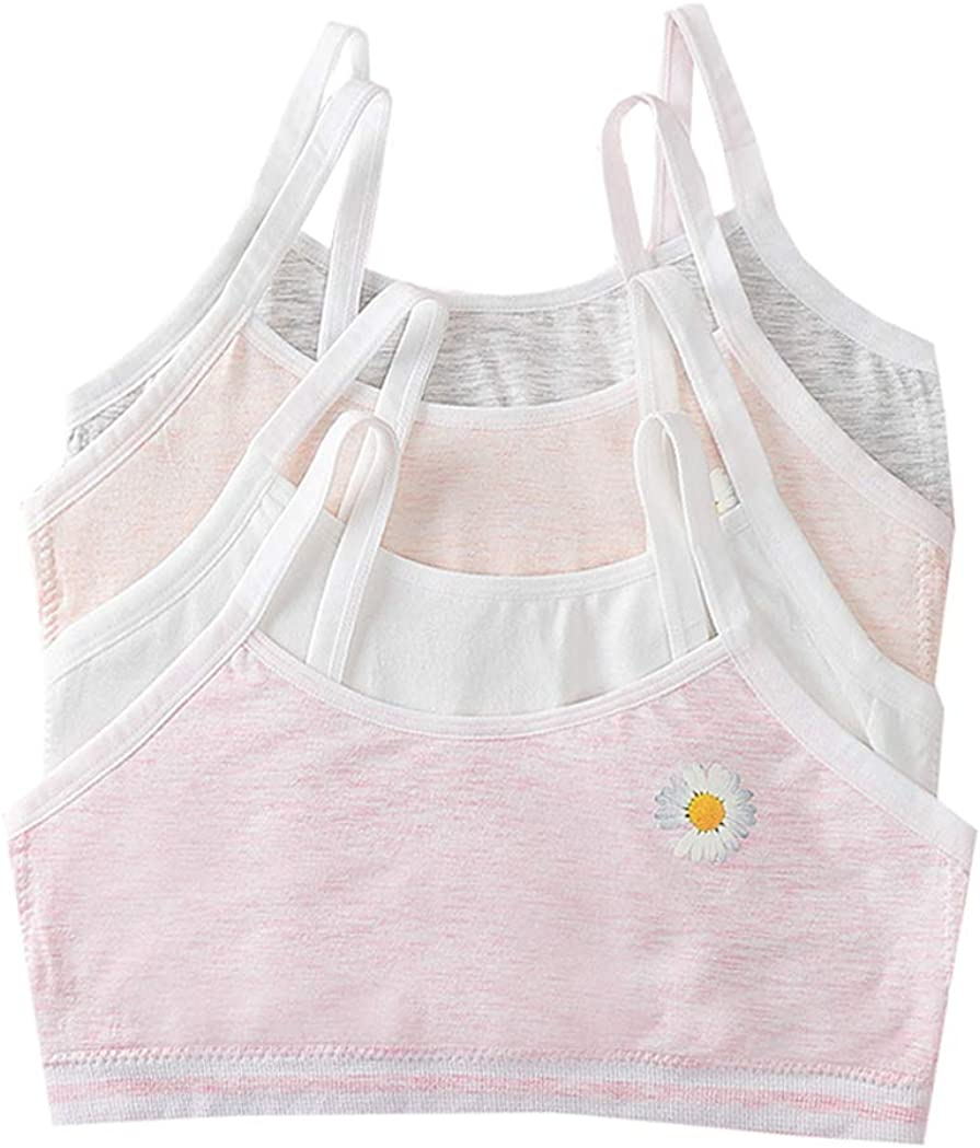 10-16 Year Girls Adorable Daisy Training Bra Pullover Cotton Crop Bralette Starter Bra