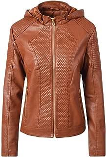 DISSA P1871 Women Faux Leather Hood Jacket Slim Coat Leather Jacket