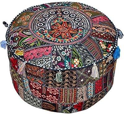 Pleasant Amazon Com Surya Decorative Pouf 22 By 22 By 12 Inch Lamtechconsult Wood Chair Design Ideas Lamtechconsultcom
