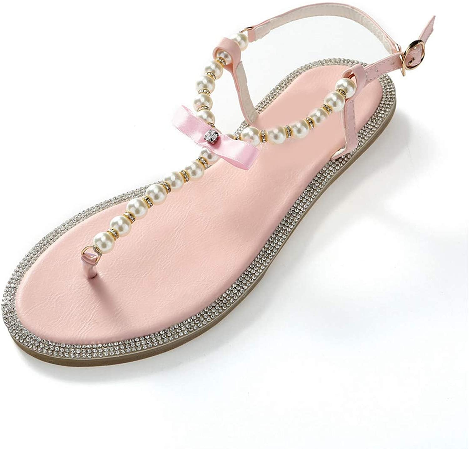 Women Sandals Summer Fashion shoes Girl's Bow Diamond Pearl Women Sandals Flat Sandals Woman shoes