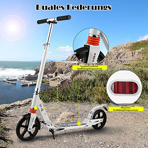 Laiozyen Big Wheel Scooter - City Scooter, Klappbarer City-Roller, höhenverstellbar, Tret-Roller für Erwachsene und Kinder Bis 100kg (Color2)