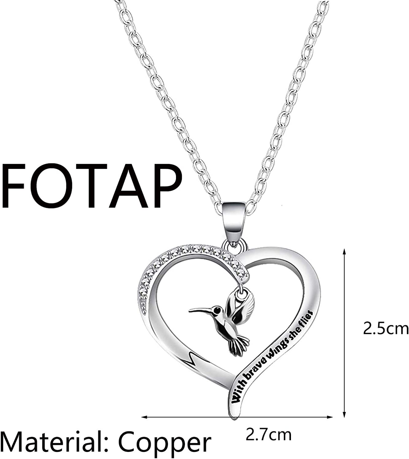 FOTAP Inspirational Necklace with Brave Wings She Flies Necklace Hummingbird Charm Jewelry Hummingbird Lover Gift BFF Gift
