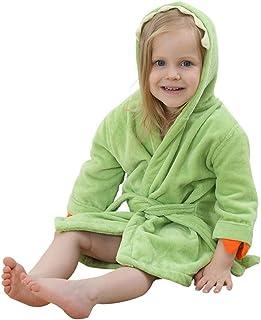 ベビー バスローブ 綿100% キッズ フード付きバスローブ タオル地 ガウン 子供用 お風呂上がり ルームウェア 温泉や旅行、キャンプや運動会など 超吸収性 ポンチョ マント (グリーン,S:50CM(0-3歳))
