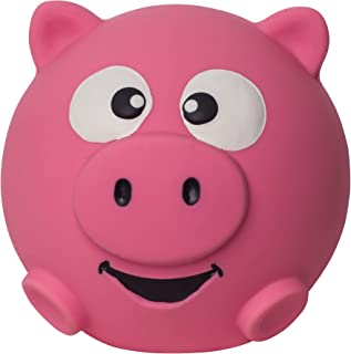 Outward Hound Sillyz Pig Latex Rubber Squeaky Ball Dog Fetch Toy, Pink