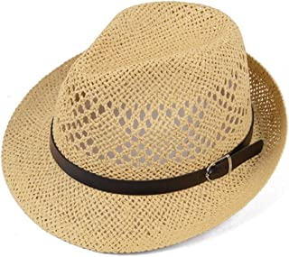 XingKunshop Sun Hat Cowboy Straw Hat with Leather Band Shapeable Brim Bush Hat Foldable Straw Harvester Hat (Sun Protection) Beach Hat Fishing Hat with Outdoor Caps for Sunhat,Travel