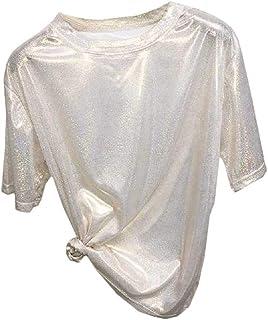 Energy Womens Short-Sleeve Casual Shiny Glitter Round Neck T Shirts
