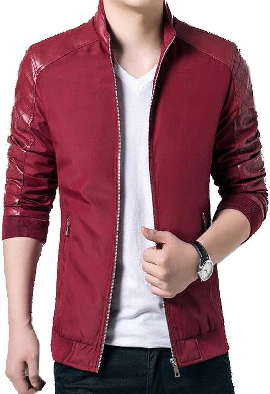 d07d4343c21c1 Jofemuho Jofemuho Jofemuho Men Pu Leather Relaxed Fit Plus Size Stand  Collar Motorcycle Coat Jacket 92eee4