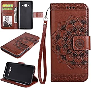 Protective Case Compatible with Samsung Embossed Half Flower Design Wrist Strap Premium PU Leather Wallet Pouch Flip Stand Case Compatible Samsung Galaxy J3/J3 2016 J310 Phone case (Color : Brown)