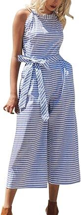 Dresses for Women, JFLYOU Sleeveless Sweet Striped Jumpsuit Casual Clubwear with Belt Long Maxi Dress