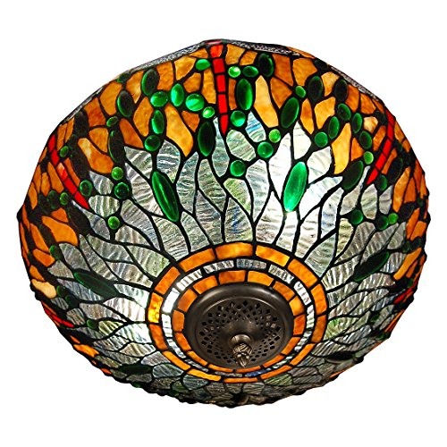World Art TW60537 Lampes Style Tiffany Plafonnier Libellule, Multicolore, 27x41x41 Cm