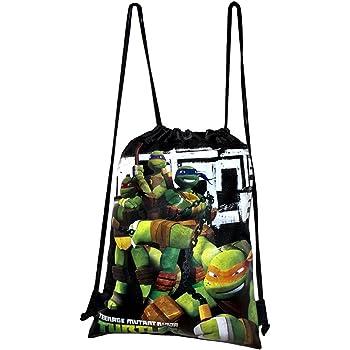Ninja Turtles Green-Drawstring String School Sport Gym Tote Bag Backpack