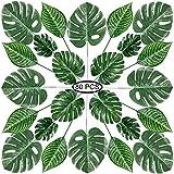 Hojas de Palma Artificiales, PietyPet 80 Piezas 4 tipos Verde Plantas Artificiales, Falso Hojas de Monstera con tallos para Luau, Fiestas Decoraciones Eventos, Bodas, Hawaiano