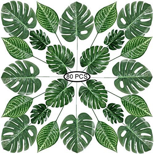 PietyPet 80 Stück 4 Arten künstliche Palmenblätter mit Stielen, Tropische Pflanze Palm Blätter Monsterablätter, Plastikpalmenblätter für Hawaiische Luau Dschungel Strand Thema Tischdekoration