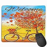 Willkommen Herbst Fahrrad dekorative rote Herbstblätter Mauspads rutschfeste Gaming Office Mauspad Rechteckige Gummi Mauspad