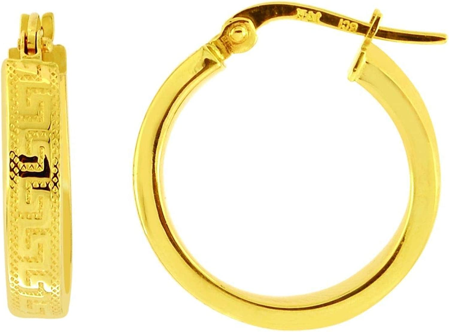 14K Yellow Gold Shiny Textured Flat Greek Key Small Hoop Earring with Hinged Clasp