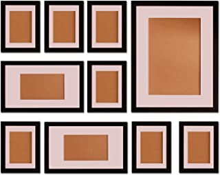 """FUNTRESS 10 Pieces Gallery Wall Photo Frames Set For Wall 16'' 12"""" 7"""" Size Wooden Combination Pictures Frames Baby Room Li..."""
