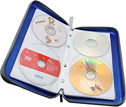 Watruer CD Case, 80 Capacity DVD Storage DVD Case Holder VCD Wallet Organizer Protective Hard Plastic Portable Case Cover - Blue