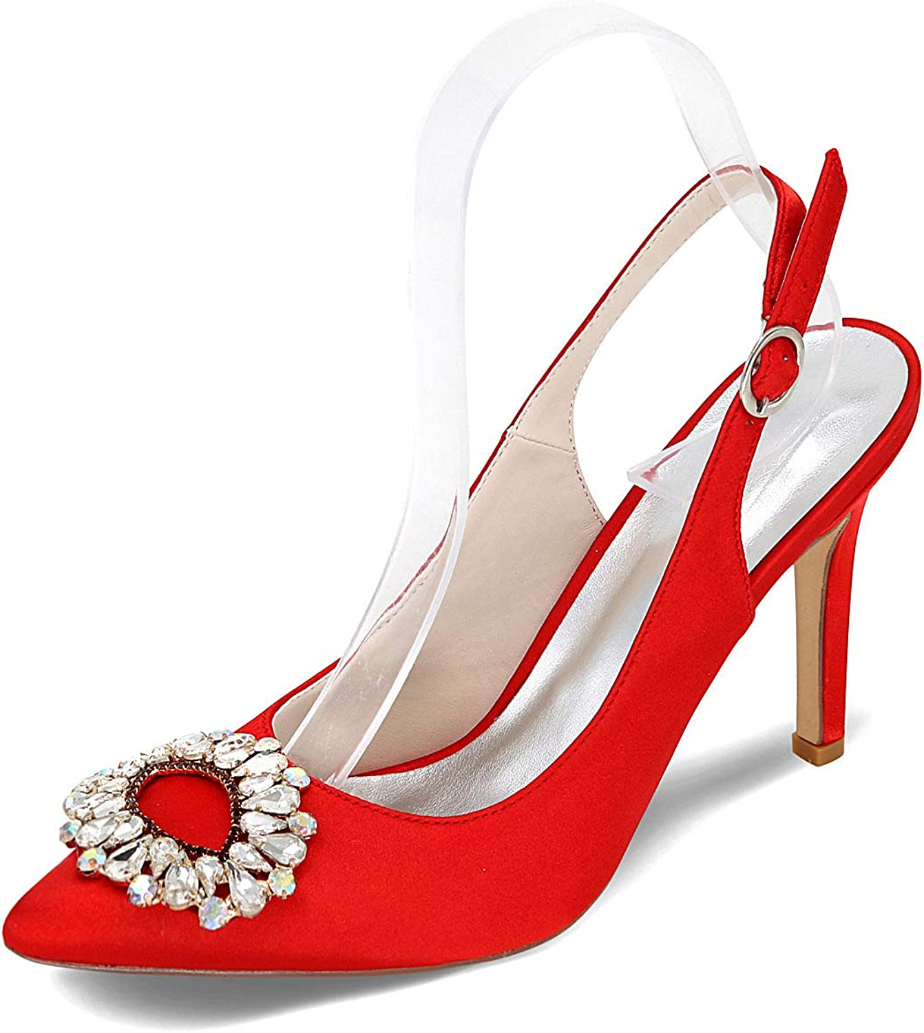 LLBubble Women High Heels Satin Wedding shoes Pointed Toe Buckle Strap Bridal Pumps Formal Party Dress shoes 0608-20F
