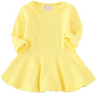 Toddler Baby Girls Long Sleeve Cotton Dress Solid Ruffle Tops